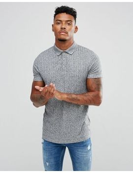 Asos Design Polo Shirt With Button Neck In Interest Rib by Asos