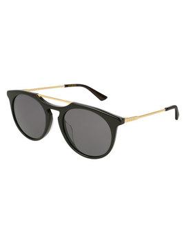 Round Acetate Pilot Sunglasses, Black by Gucci
