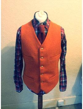 Orange, Veste Tweed, Veste De Costume De Mariage, Sur Mesure, Gilet, Gilet En Laine Orange Harris Tweed Fait Main, Gilet Homme Marié Meilleur Homme, Gilet En Laine, by Etsy