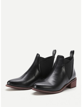 Almond Toe Cork Heeled Pu Boots by Sheinside