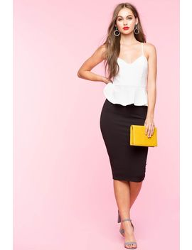 Contrast Peplum Dress by A'gaci