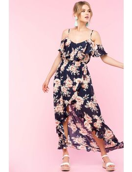 Floral Ruffle Hi Low Dress by A'gaci