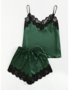 Lace Trim Satin Cami And Shorts Pajama Set by Shein