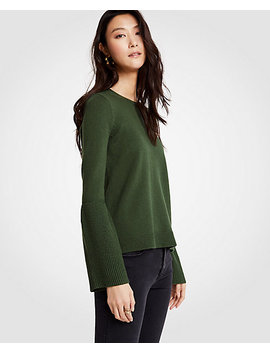 Petite Wide Rib Sleeve Sweater by Ann Taylor