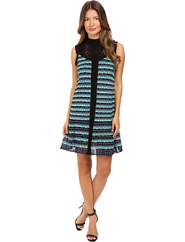 Topstitch Knit Sleeveless Dress W/ Drop Waist Ruffle by M Missoni