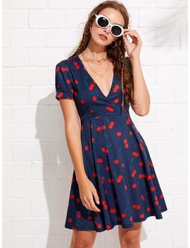 Cherry Print Deep V Neckline Dress by Sheinside
