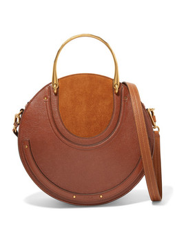 Pixie Large Suede And Textured Leather Shoulder Bag by Chloé