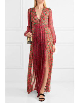 Lily Pleated Floral Print Silk Chiffon Maxi Dress by Raquel Diniz