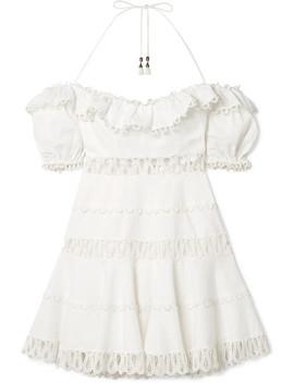 Melody Crochet Paneled Linen Blend Mini Dress by Zimmermann