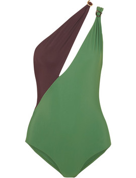 Double Boa Cutout One Shoulder Swimsuit by On The Island By Marios Schwab
