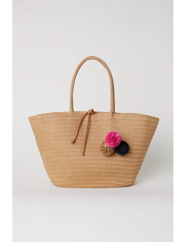 Straw Bag With Pompoms by H&M