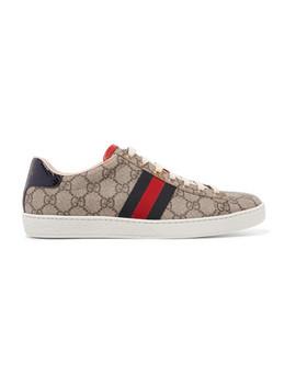 Ace Bedruckte Sneakers Aus Beschichtetem Canvas Mit Besatz Aus Metallic Wasserschlangenleder by Gucci