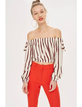 **Bardot Striped Tie Sleeve Crop Top By Love by Topshop