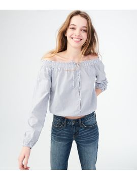 Long Sleeve Stripe Buttoned Off The Shoulder Crop Top by Aeropostale