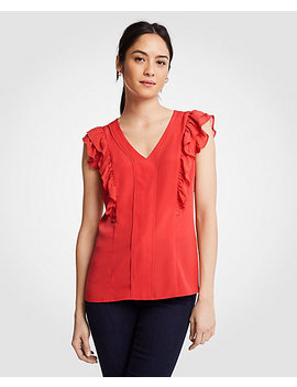 Piped Flutter Sleeve Shell by Ann Taylor