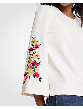 Petite Floral Embroidered Bell Sleeve Top by Ann Taylor