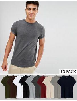 Asos – Muskel T Shirts Mit Aufgerollten Ärmeln Im 10er Pack, Jetzt Sparen by Asos