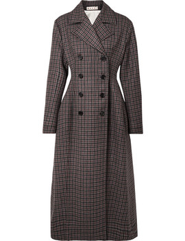 Double Breasted Checked Wool Coat by Marni