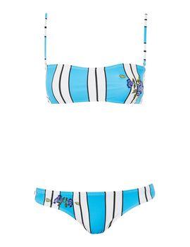 Stripe Embroidered Bikini Set by Topshop