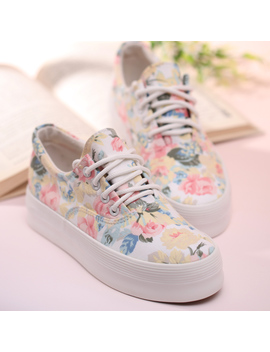 Women's Floral Print Thick Soled Canvas Sneaker by Luulla