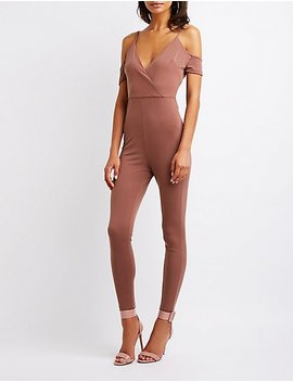 Cold Shoulder Wrap Jumpsuit by Charlotte Russe
