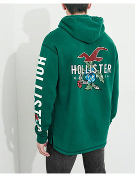 Floral Print Graphic Hoodie by Hollister