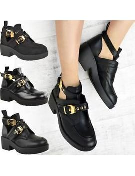 Womens Flat Cut Out Chunky Ankle Boots Black Strappy Biker Low Block Heel Size by Ebay Seller