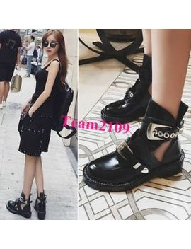 Goth Punk Womens Buckle Rivet Ankle Boots Cut Out Low Flat Heel Biker Shoes New& by Ebay Seller