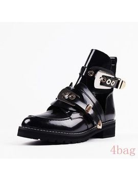 Womens Cuban Heel Punk Buckle Ghthic Cut Out Biker Patent Leather Ankle Boots Sz by Ebay Seller