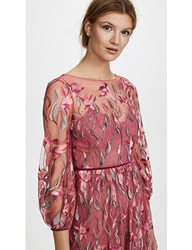 Embroidered Gown With Bishop Sleeve by Marchesa Notte