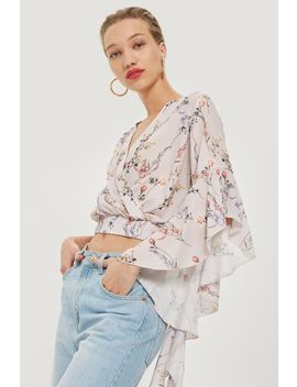 **Floral Frill Sleeve Crop Top By Love by Topshop