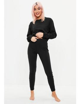 Black Cropped Long Sleeve Lounge Set by Missguided