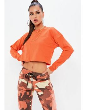 Orange Raw Hem Crop Sweatshirt by Missguided