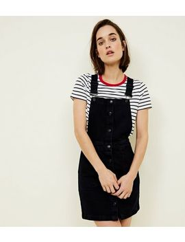 Navy Button Front A Line Denim Pinafore Dress by New Look