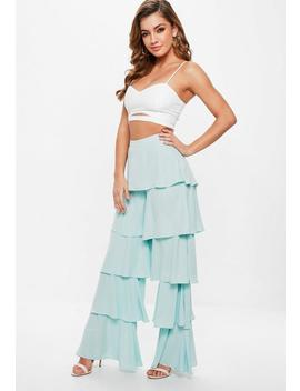 Mint Blue Tiered Frill Wide Leg Trousers by Missguided
