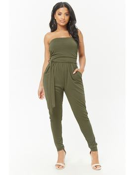 Belted Ruched Jumpsuit by Forever 21