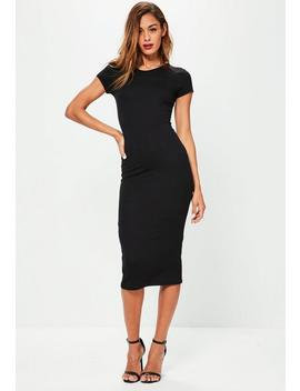 Petite Black Short Sleeve Midi Dress by Missguided