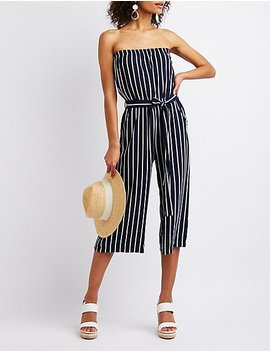 Striped Strapless Jumpsuit by Charlotte Russe