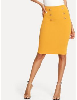 Double Button Pencil Skirt by Shein