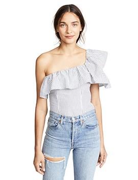 Seersucker One Shoulder Bodysuit by Kendall + Kylie