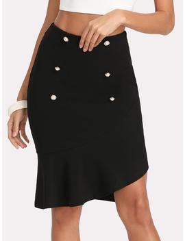 Double Breasted Zip Back Asymmetrical Hem Skirt by Shein