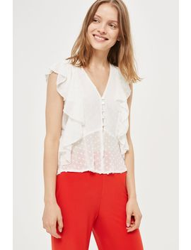 **Ryna Polka Dot Ruffle Top By Tfnc by Topshop