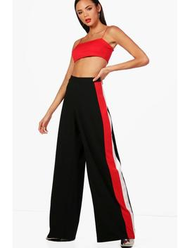 Tall Ava Stripe Wide Leg Crepe Trousers by Boohoo