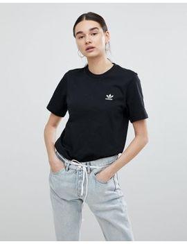 Adidas Originals – Schwarzes T Shirt Mit Kleiner Logostickerei by Adidas