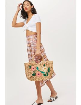 Floral Embroidered Straw Tote Bag by Topshop