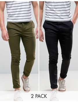 Asos 2 Pack Skinny Chinos In Black & Khaki Save by Asos