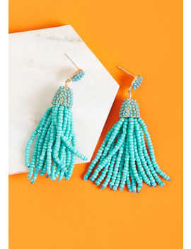 Classy Tassels Beaded Earrings In Teal Classy Tassels Beaded Earrings In Teal by Modcloth