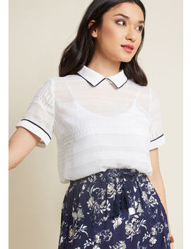 Logical And Lovely Collared Blouse In White Logical And Lovely Collared Blouse In White by Modcloth