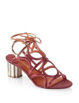Detailed Gancio Flower Heel Vinci Sandals by Salvatore Ferragamo