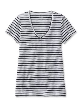 Women's West End Fitted Tee, Short Sleeve V Neck Stripe by L.L.Bean
